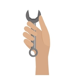 Hand holding a wrench tool vector