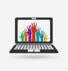 hands up volunteering concept vector image vector image