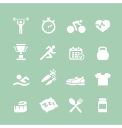 Health and Fitness white icons set icons vector image