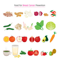 Healthy food for breast cancer prevention set vector