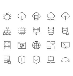 Hosting line icons set simple minimal pictograms vector