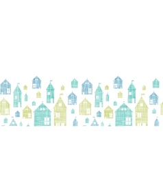 Houses blue green textile texture horizontal vector image