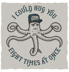 octopus hand drawn poster vector image