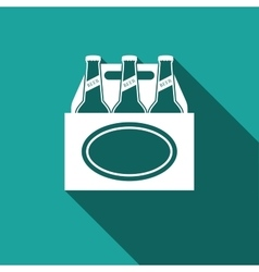 Pack of beer icon with long shadow vector