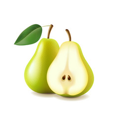 Pear and slice isolated on white vector image vector image