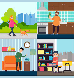 people and pets concept vector image vector image