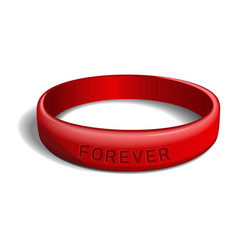 Red plastic wristband with inscription - forever vector