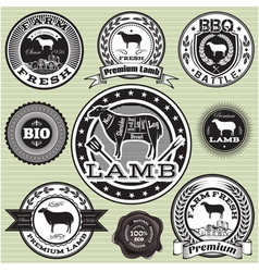 Set of labels with sheep and lamb vector