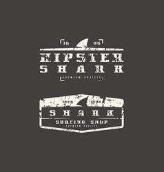 shark fin emblems graphic design for t-shirt vector image