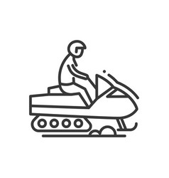 snow racer - line design single isolated icon vector image vector image