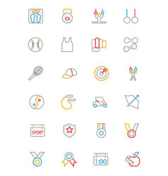 Sports colored outline icons 5 vector