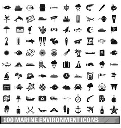 100 marine environment icons set simple style vector