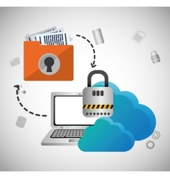 Cloud computing padlock web hosting design vector