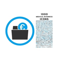 Euro wallet rounded icon with 1000 bonus icons vector