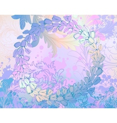 Soft blue grungy background with floral frame vector