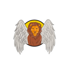 Winged lion head circle drawing vector