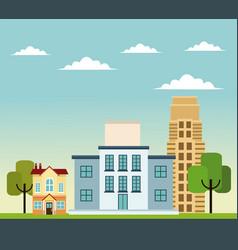 Building home school business road trees design vector