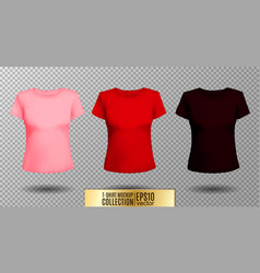 T-shirt template set for men and women realistic vector