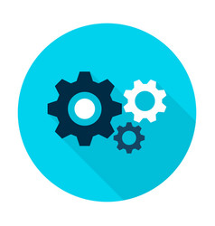 Three gear flat circle icon vector