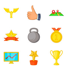gold coaching icon set cartoon style vector image