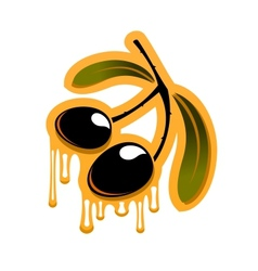 Two black olives dripping olive oil vector image