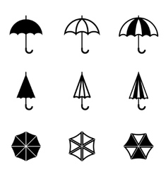 Black umbrella icons set vector