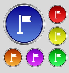 Flag icon sign round symbol on bright colourful vector