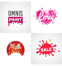 Set of different splatter design elements vector
