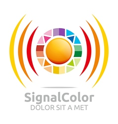 Logo the rainbow signal colour circle symbol icon vector