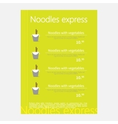 Noodles restaurant menu vector