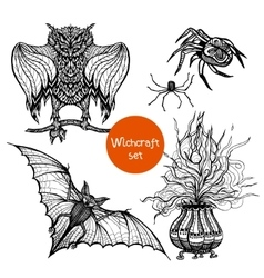 Witchcraft Doodle Set vector image