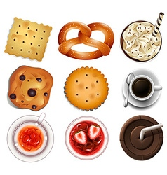 Cookies and different drinks vector