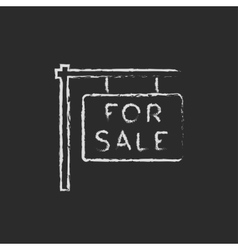 For sale placard icon drawn in chalk vector