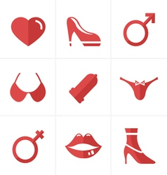 Flat icon sex and xxx icons set design vector