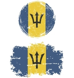 Barbados round and square grunge flags vector