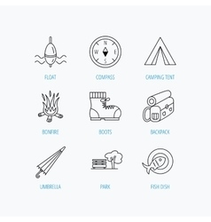 Park fishing float and hiking boots icons vector