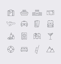 Line icons set in flat design elements of vacation vector