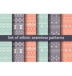 Set of six ethnic seamless patterns vector