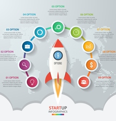 Startup circle infographics with rocket 9 options vector