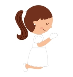 girl first communion icon vector image