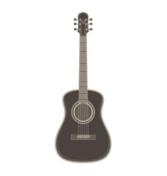 acoustic guitar flat icon isolated black music vector image vector image