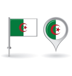 Algerian pin icon and map pointer flag vector image vector image
