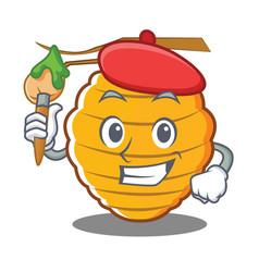 Artist bee hive character cartoon vector