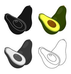 avocado icon cartoon singe fruit icon vector image