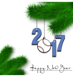 Baseball ball and 2017 on a christmas tree branch vector