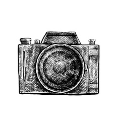 Black and white ink hand drawn camera vector image vector image