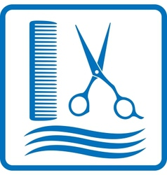 blue hairdresser sign vector image vector image