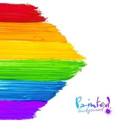 Bright rainbow paint strokes arrow background vector