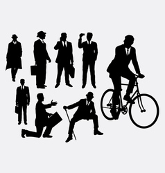 Businessman male people at work activity silhouet vector image