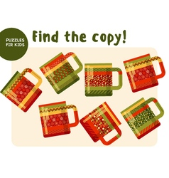 Christmas colorful tea mag set in traditional vector